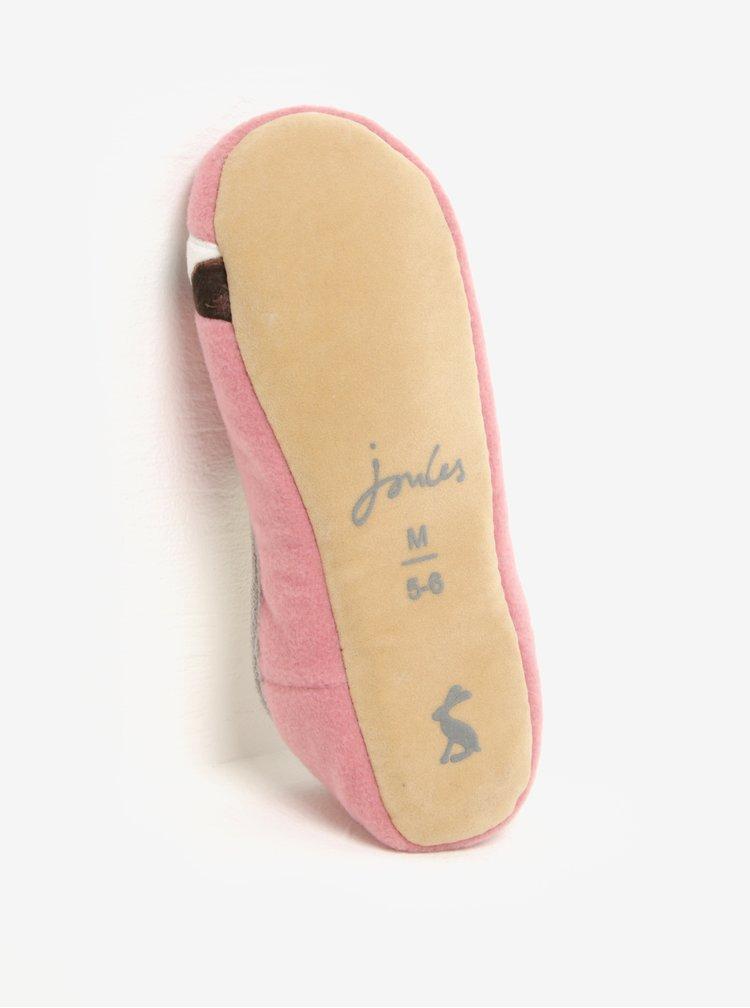 Růžové dámské papuče s motivem psa Tom Joule Slippets