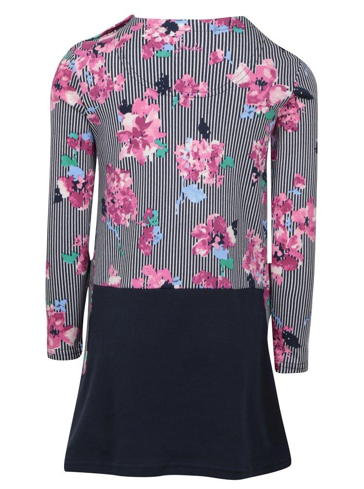 Růžovo-modré holčičí pruhované šaty s květy Tom Joule Sadie