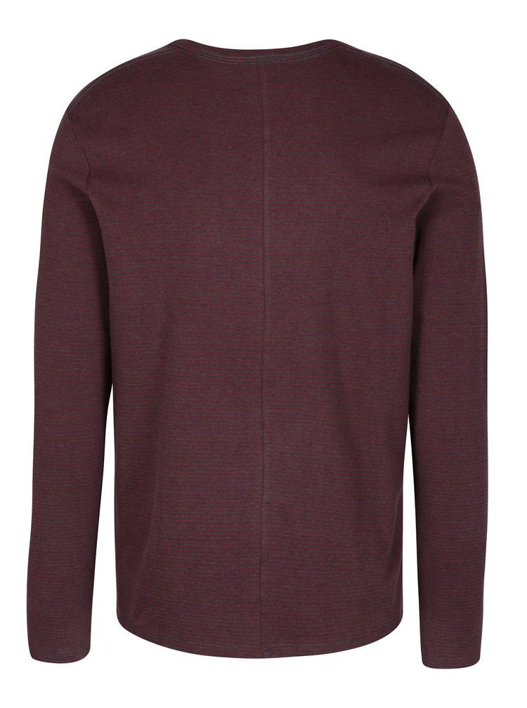 Šedo-vínové pruhované tričko s dlouhým rukávem Selected Homme Ray