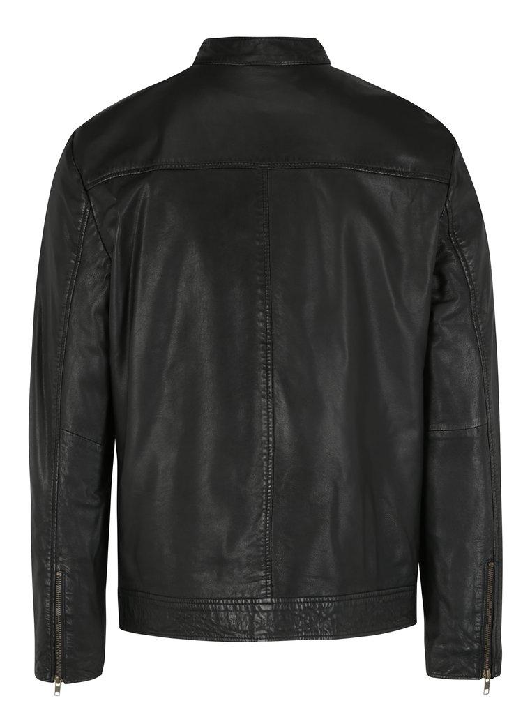 Čierna kožená bunda Shine Original