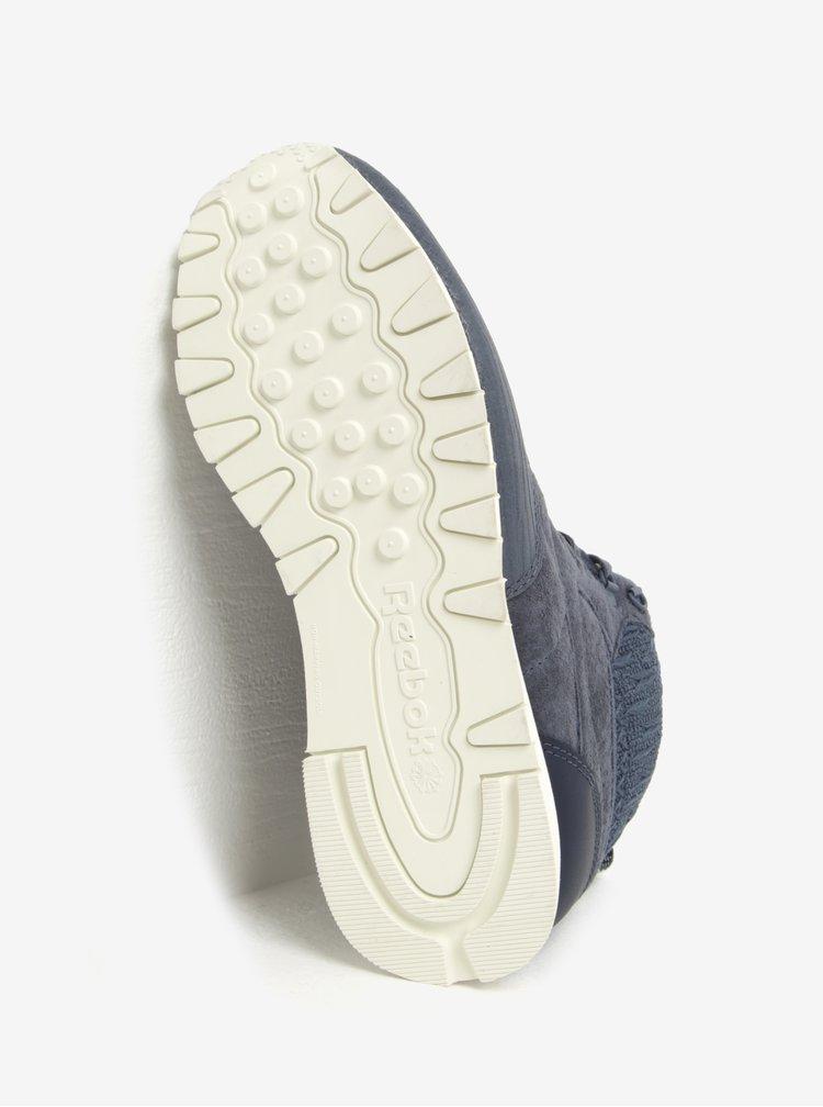 Tmavě modré dámské kožené kotníkové tenisky Reebok