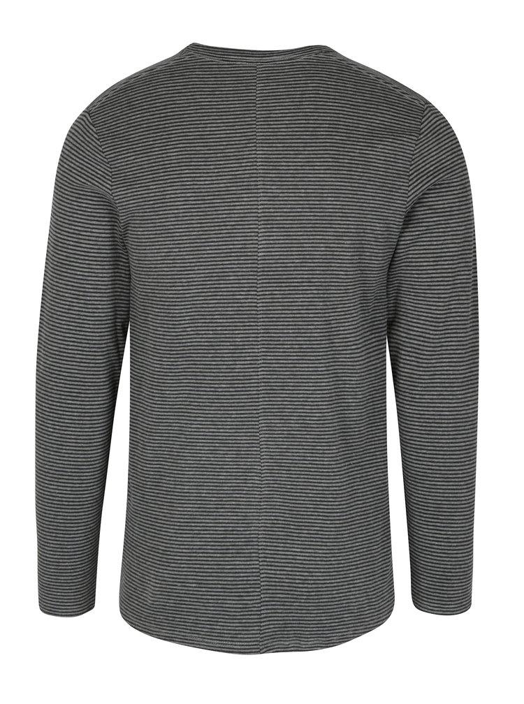 Šedé pruhované tričko s dlouhým rukávem Selected Homme Ray