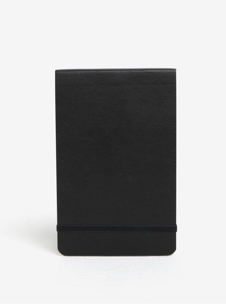 Černý malý linkovaný poznámkový blok v měkké vazbě Moleskine