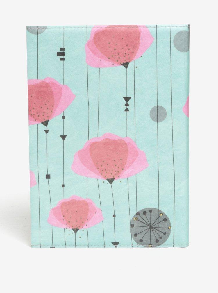 Carnert turcoaz & roz cu print I like Paper A5