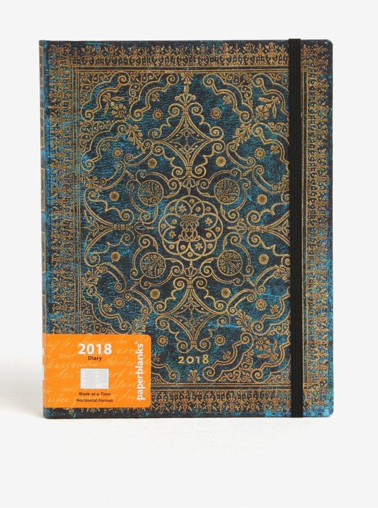 Diář v modro-zlaté barvě 2018 Paperblanks Azure