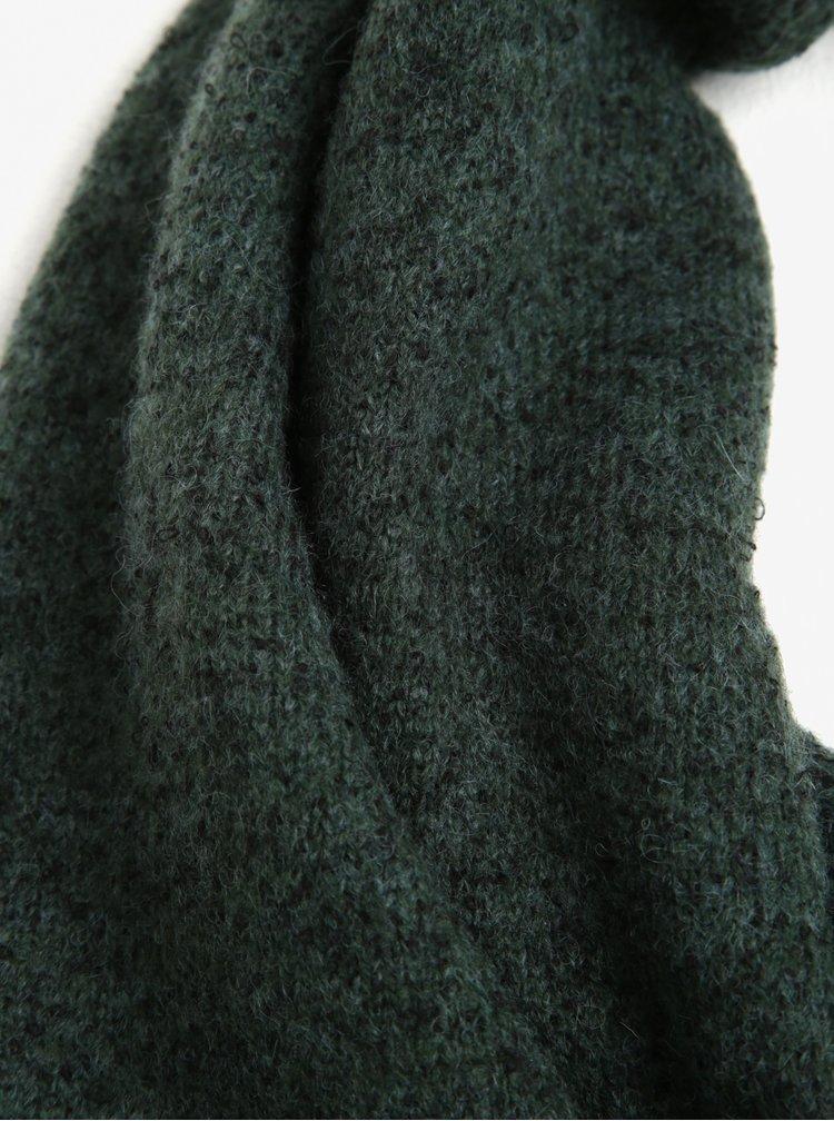 Tmavě zelená žíhaná šála s příměsí vlny Selected Homme Cali