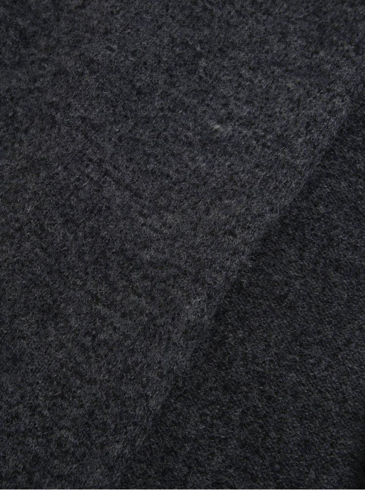 Tmavě šedá žíhaná šála s příměsí vlny Selected Homme Cali