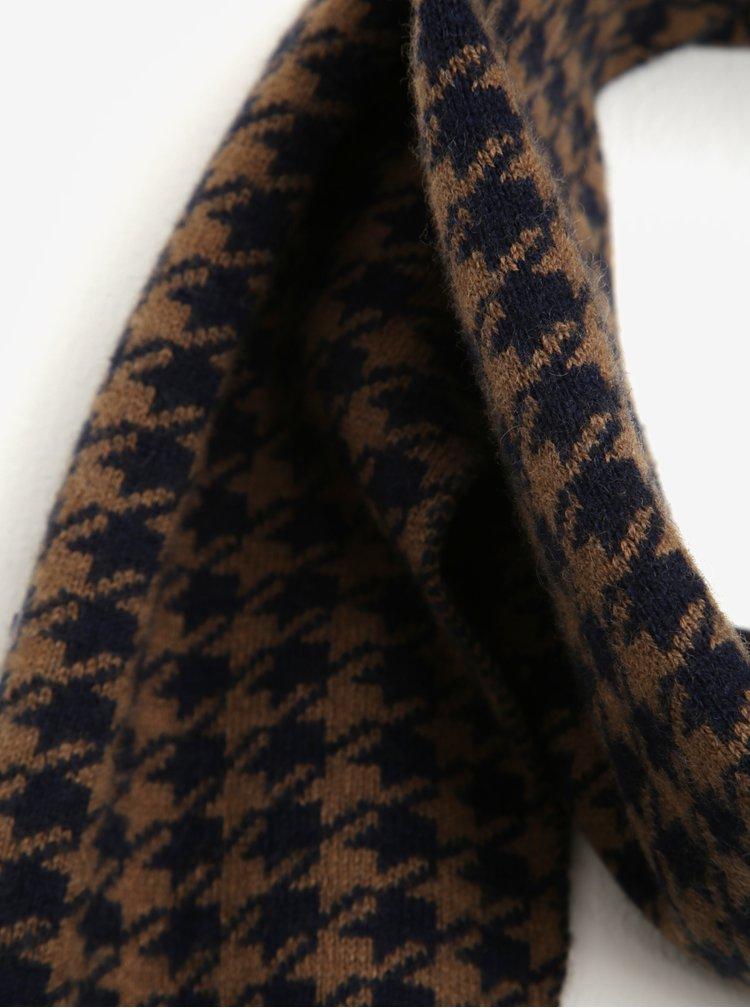 Hnědo-modrá vzorovaná vlněná šála Selected Homme Mason