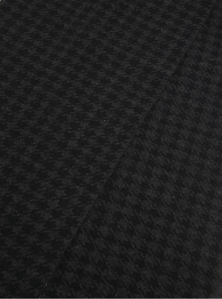 Šedo-černá vzorovaná vlněná šála Selected Homme Mason
