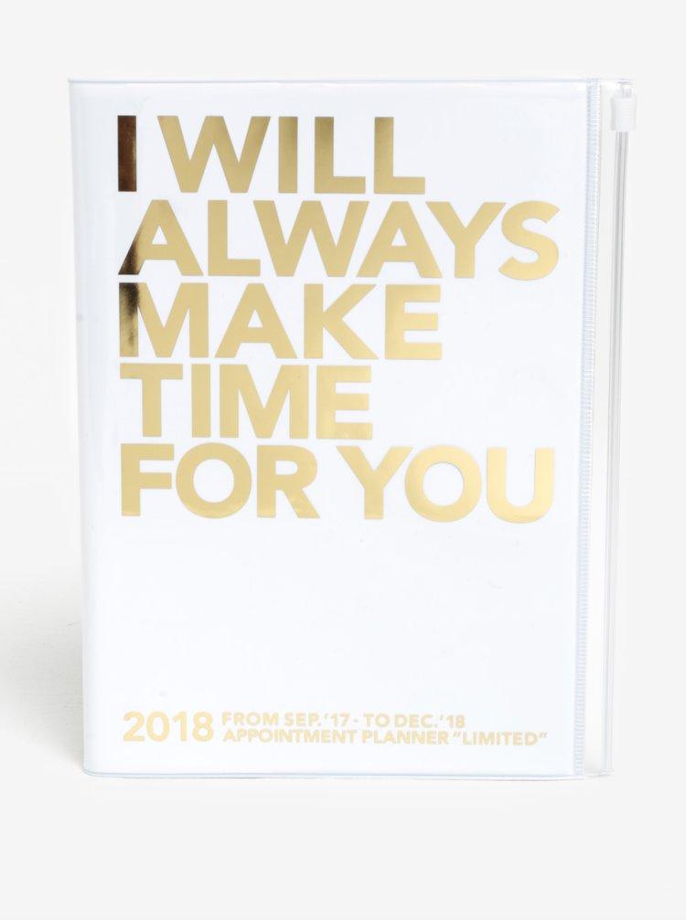 Diář pro rok 2018 v bílo-zlaté barvě Mark's Make Time A5