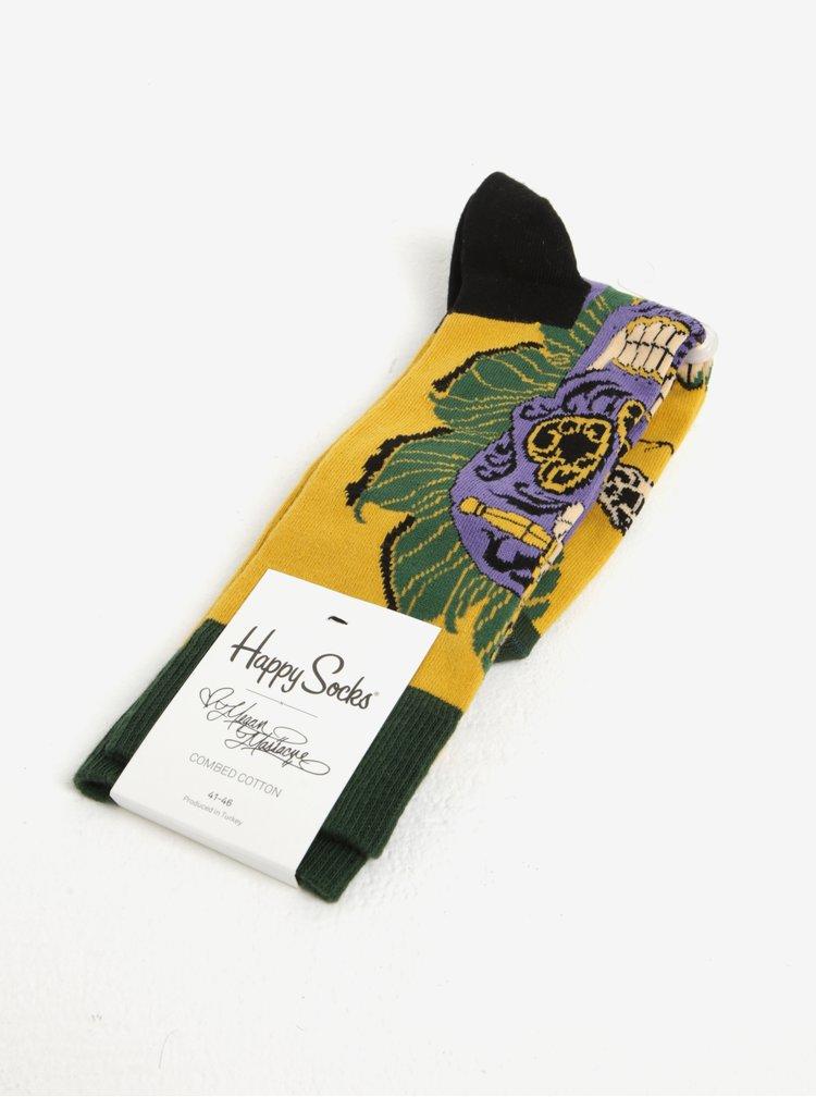 Sosete verde & galben & mov cu print craniu - Happy Socks Sword Skull