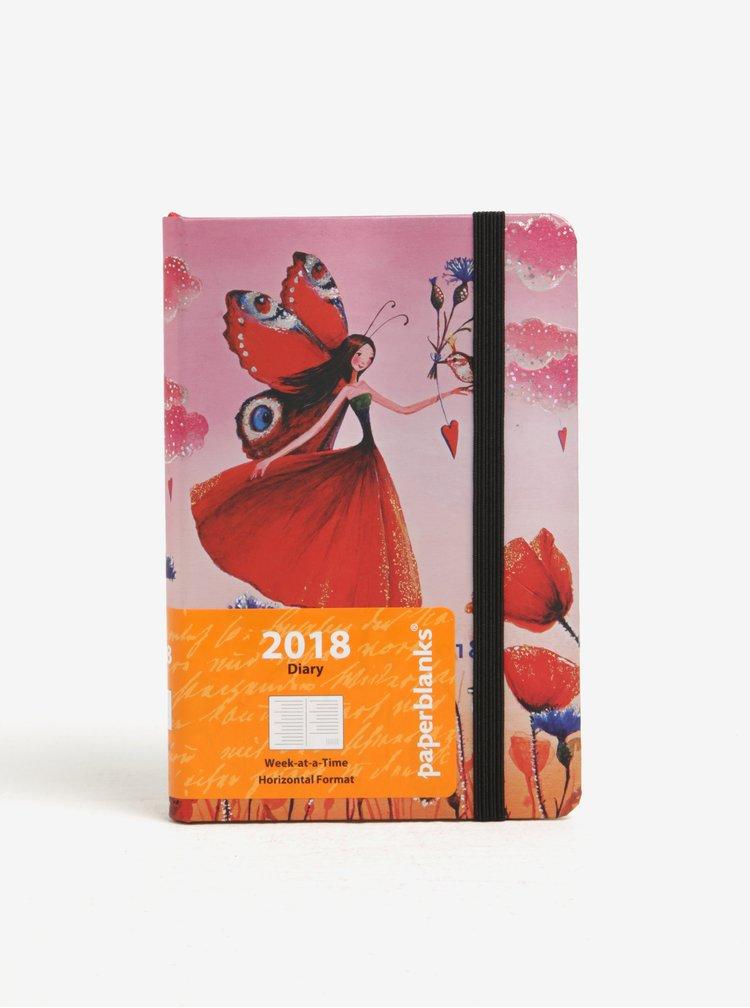 Agenda roz&rosu cu print fantezist pentru 2018 Paperblanks Poppy Field