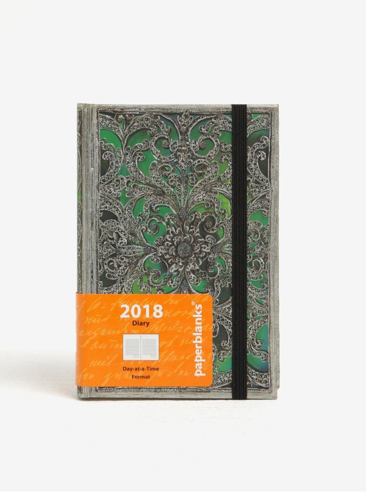 Zelený vzorovaný diář 2018 Paperblanks Esmerlda