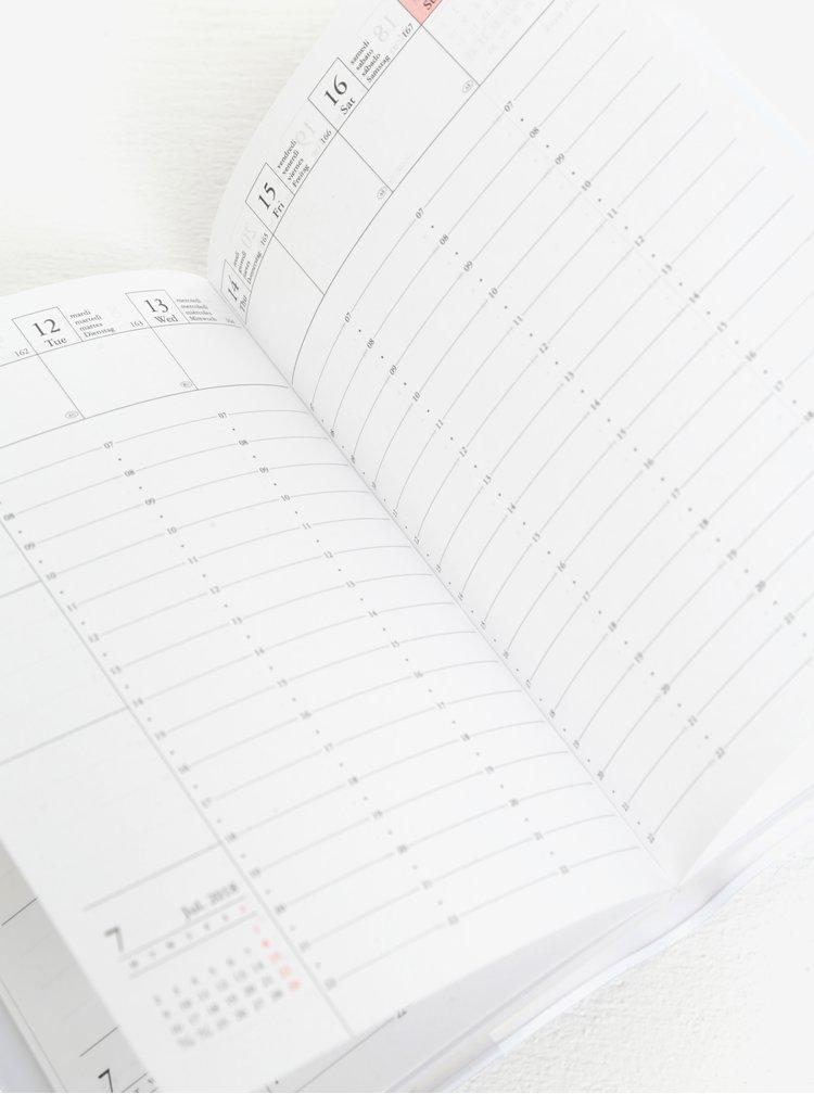 Bílo-růžový diář pro rok 2018 Mark's Make Time A6