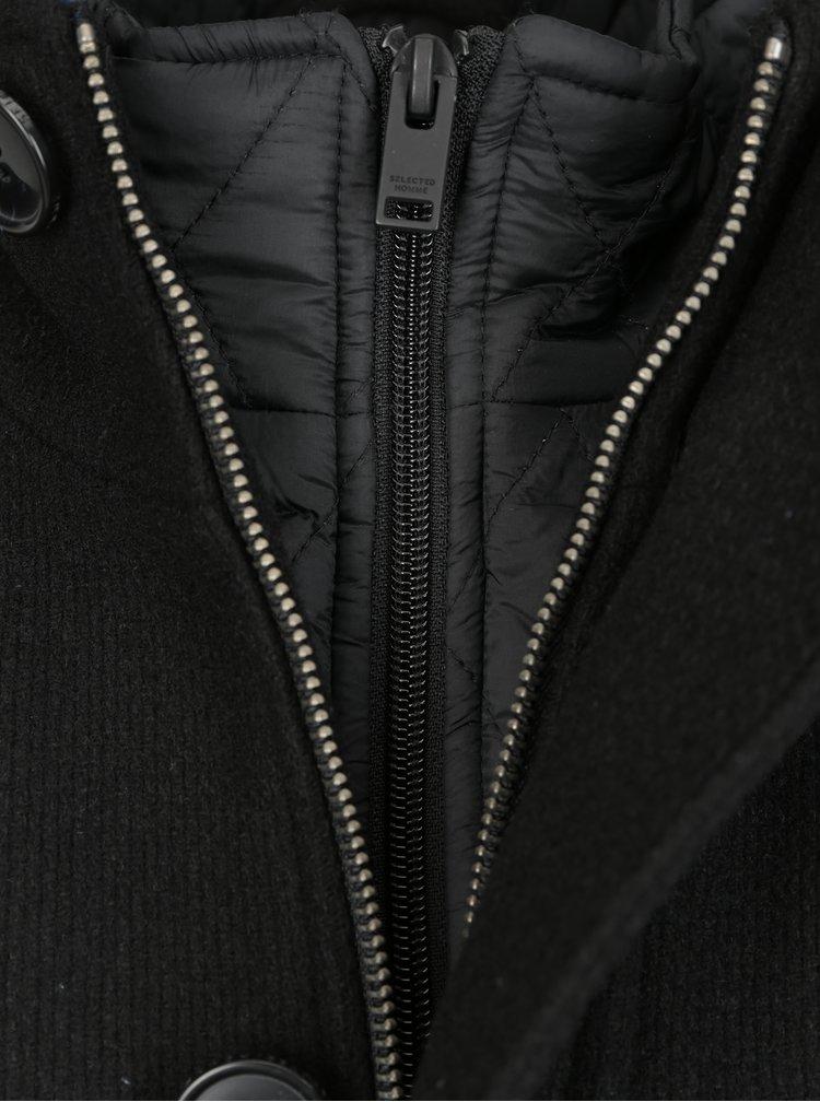 Palton negru cu interior matlasat si guler detasabil din amestec de lana-  Selected Homme Hannower