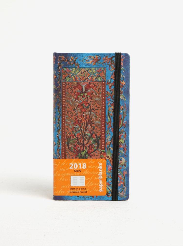 Červeno-modrý vzorovaný diář 2018 Paperblanks Delphine