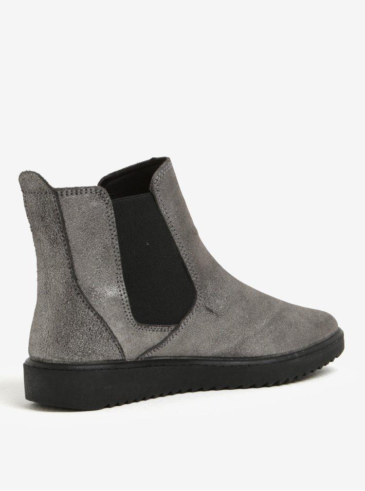Šedé metalické kožené chelsea boty OJJU