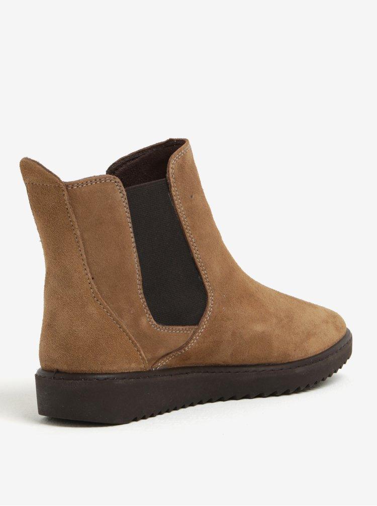 Světle hnědé semišové chelsea boty OJJU