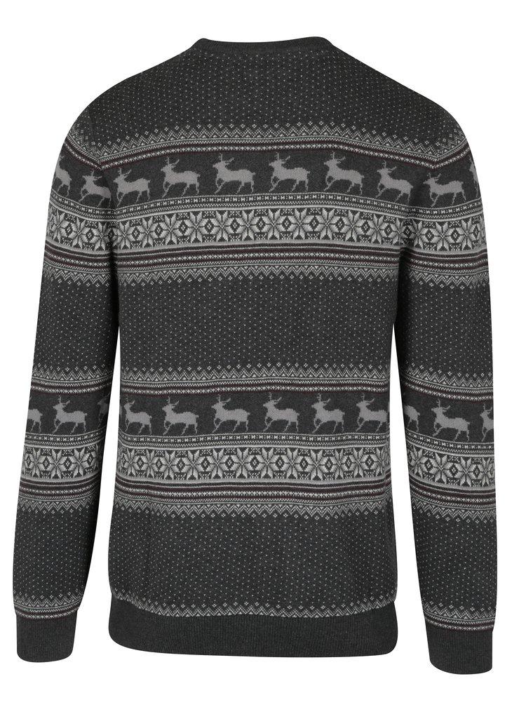 Tmavě šedý svetr se vzorem Selected Homme New Reindeer