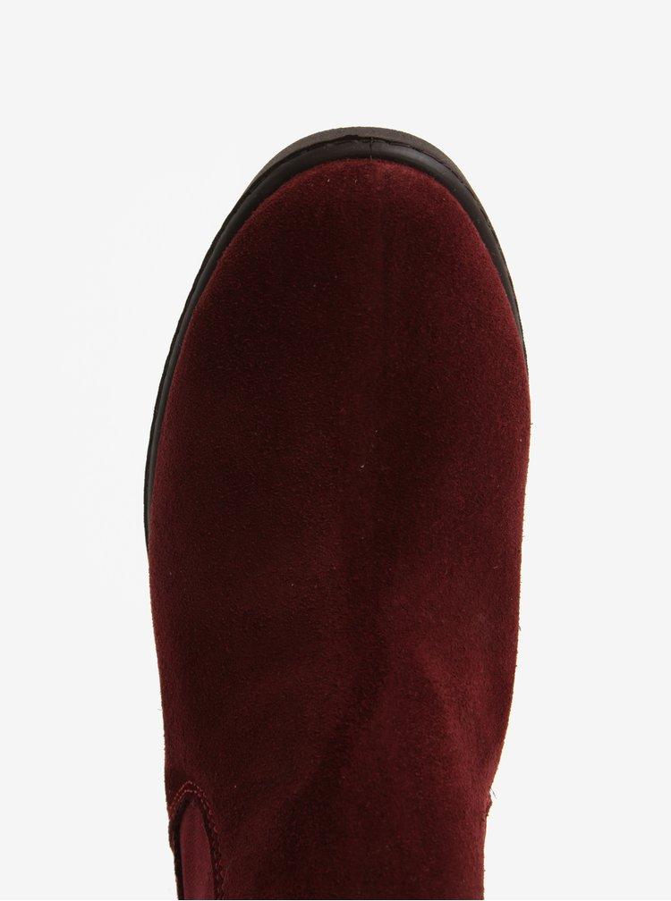 Vínové semišové chelsea boty OJJU