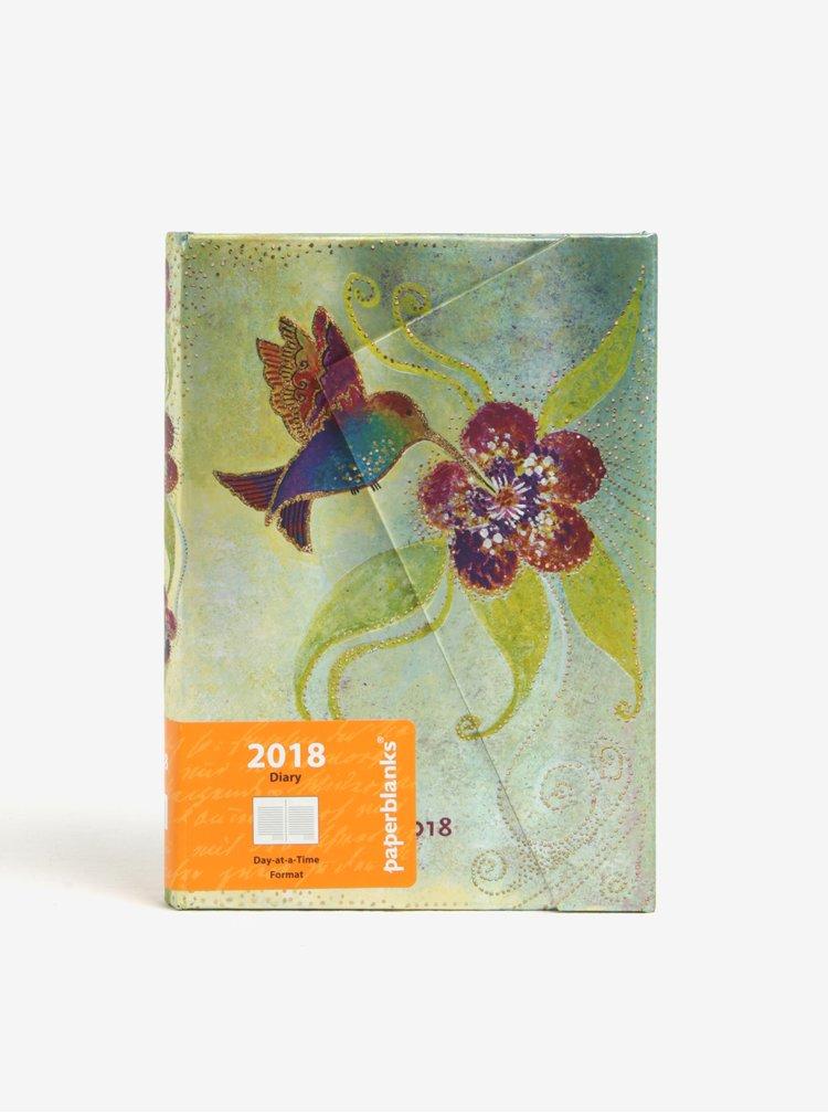Agenda 2018 verde&mov cu print pasare colibri si inchidere magnetica Paperblanks Hummingbird