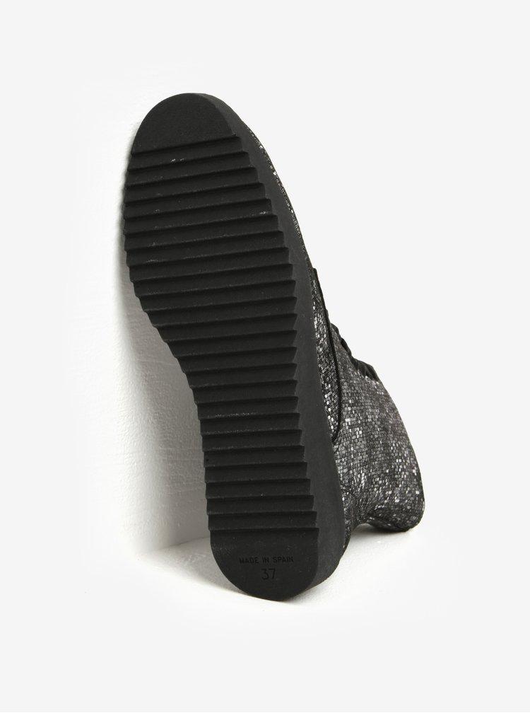 Šedé kožené metalické vzorované kotníkové boty OJJU