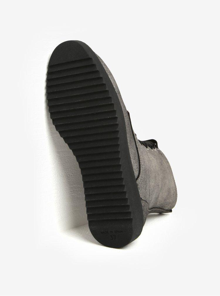 Šedé kožené metalické kotníkové boty OJJU