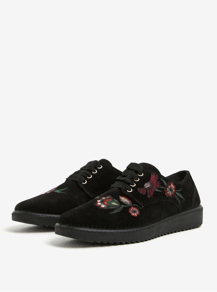 Pantofi negri cu borderie florala din piele intoarsa  OJJJU