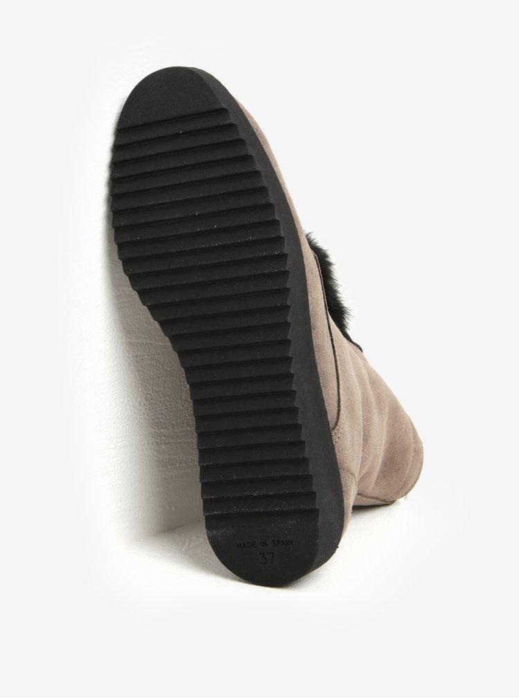 Šedé semišové kotníkové boty s bambulemi OJJU