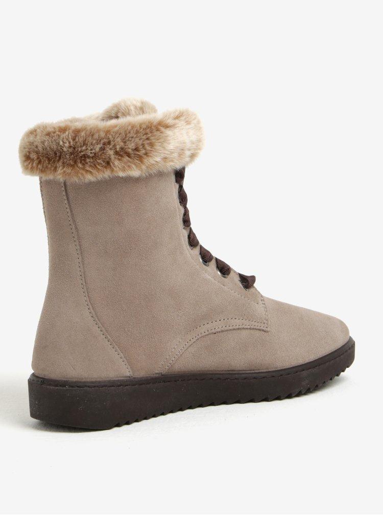Šedé semišové kotníkové boty s umělým kožíškem OJJU