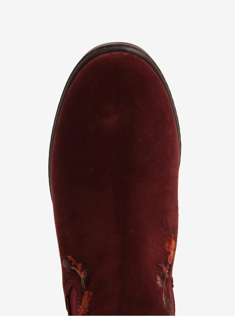 Vínové semišové chelsea boty s výšivkou OJJU