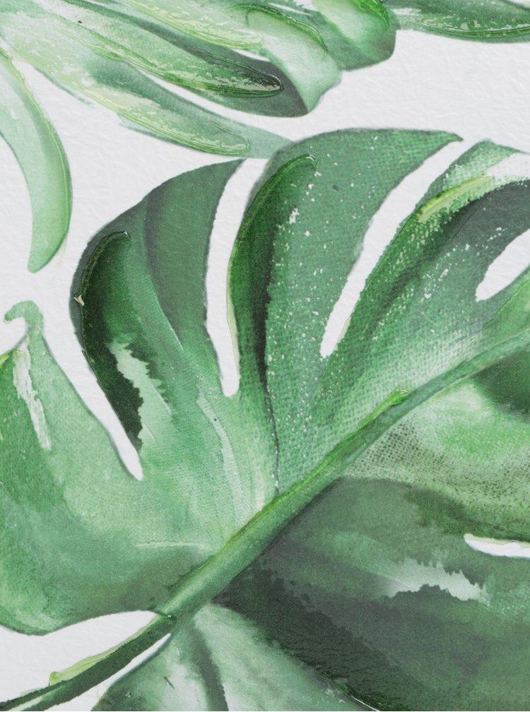 Krémovo-zelený obraz s motivem listů SIFCON
