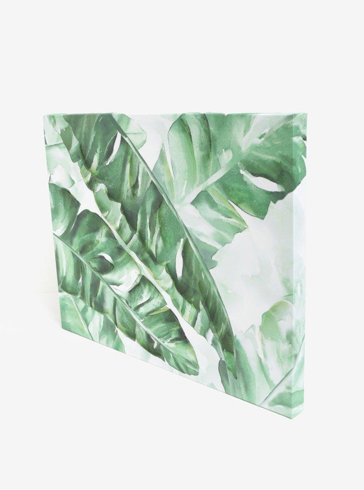 Tablou crem&verde cu frunze - SIFCON