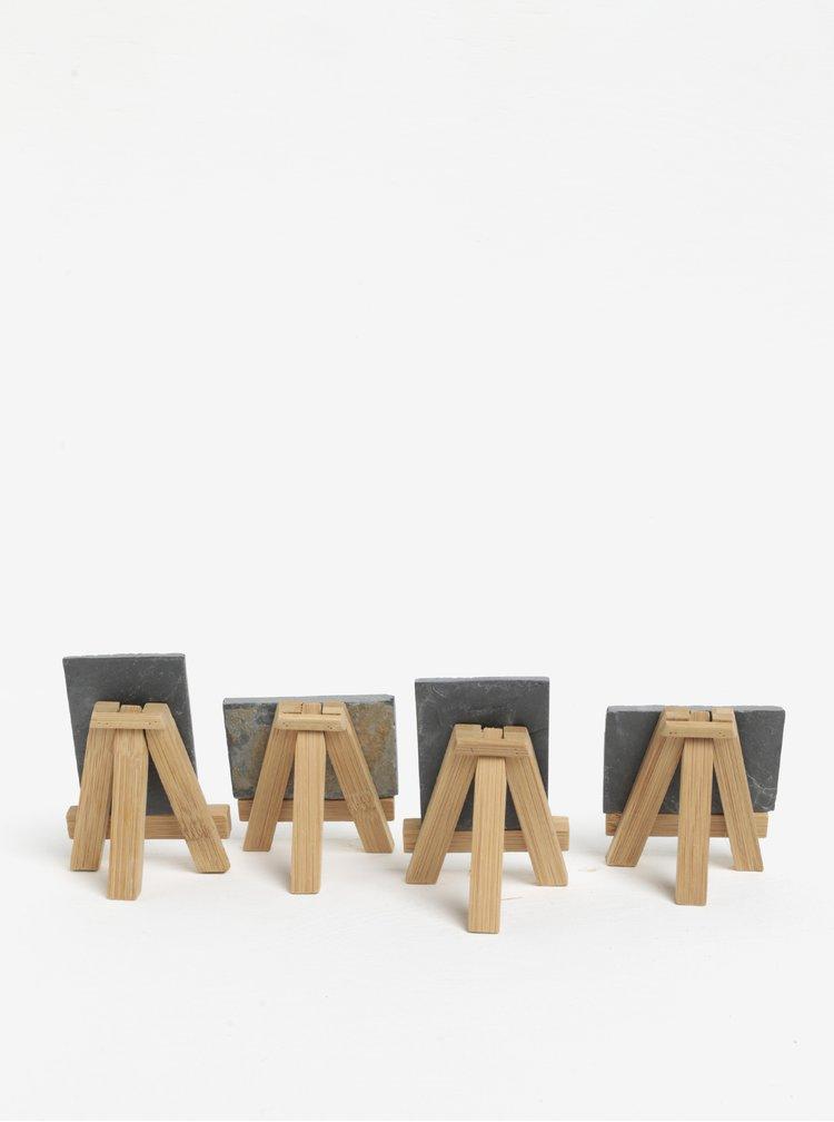 Sada čtyř bambusových stojanů s křídovou tabulí z břidlice SIFCON