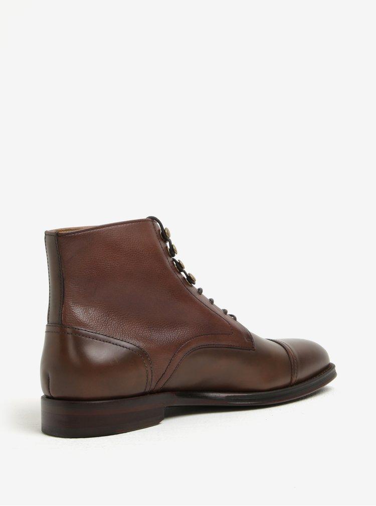 Tmavě hnědé pánské kožené kotníkové boty ALDO Semaj