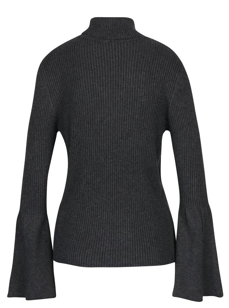 Tmavě šedé žíhané žebrované tričko s rukávem ONLY Alma