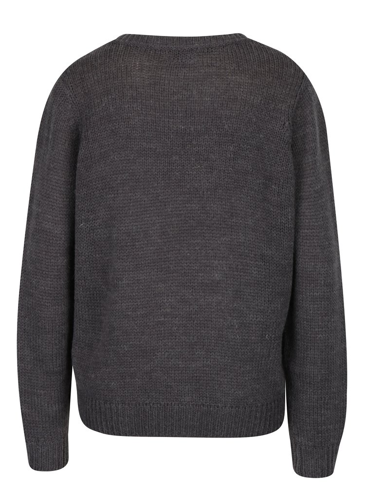 Tmavě šedý svetr s véčkovým výstřihem Jacqueline de Yong Drink