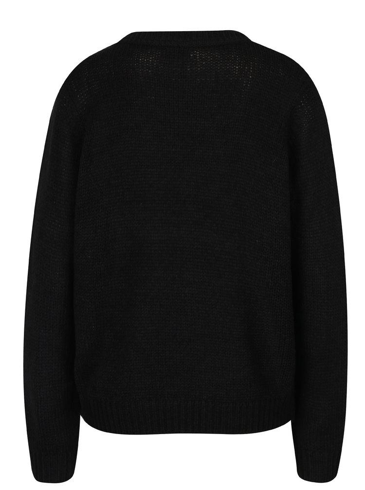 Černý svetr s véčkovým výstřihem Jacqueline de Yong Drink