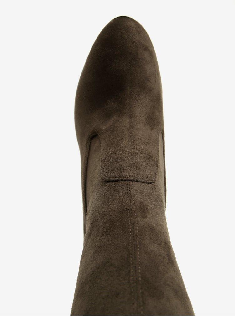 Khaki vysoké kozačky na podpatku ALDO Sumers