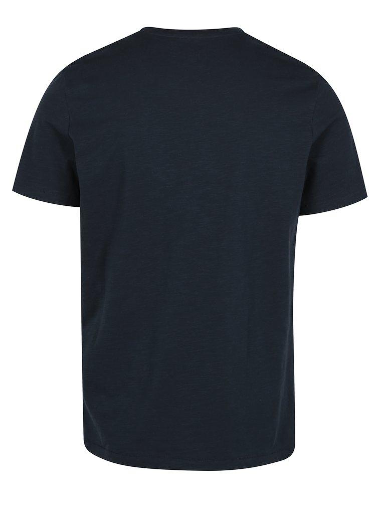 Tricou bleumarin cu print si buzunar - Jack & Jones Revert