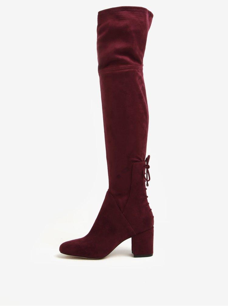 Cizme rosu bordo peste genunchi cu toc inalt - ALDO Adessi