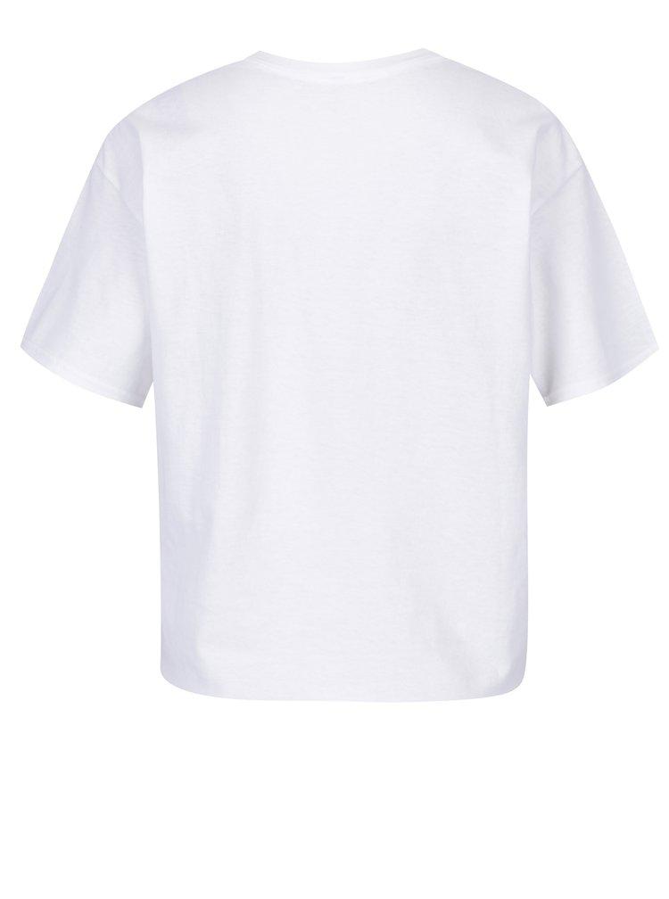 Tricou alb din bumbac cu proderie si print text - Miss Selfridge