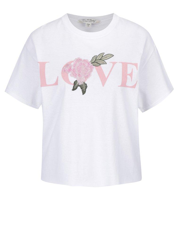 Bílé tričko s výšivkou Miss Selfridge