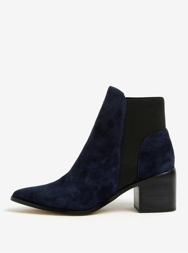 Tmavě modré dámské semišové kotníkové boty na podpatku ALDO Etiwiel