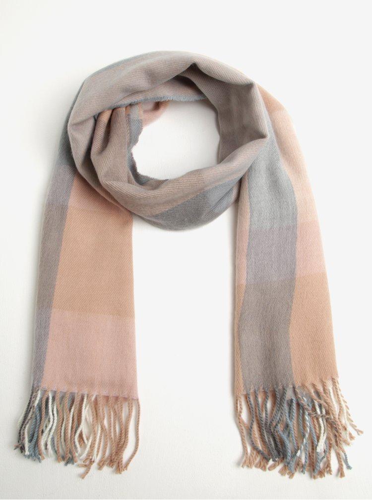 Fular in carouri  roz & gri si cu franjuri - Miss Selfridge