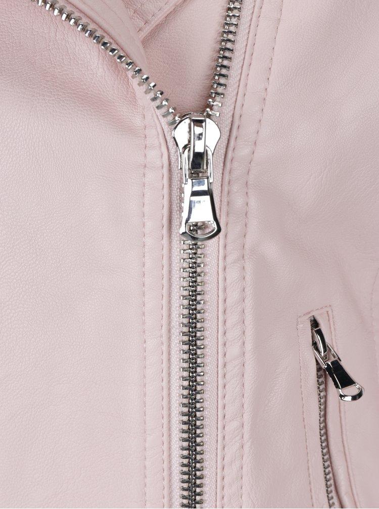 Růžový koženkový křivák Miss Selfridge Petites