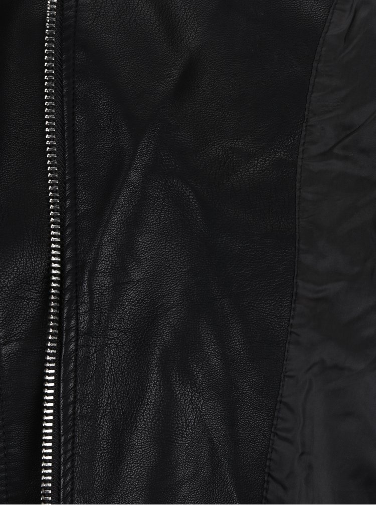 Černý koženkový křivák Miss Selfridge Petites
