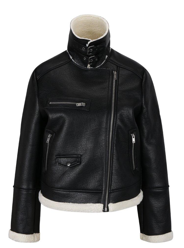 Čierna koženková bunda s umelou kožušinkou Miss Selfridge
