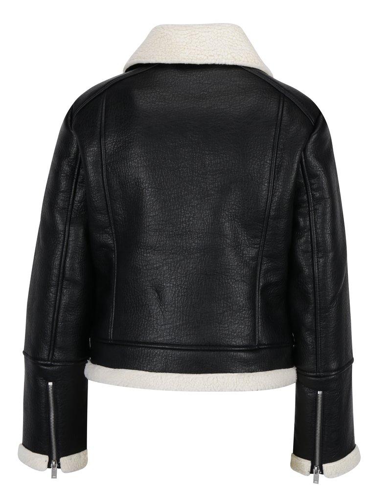 Jacheta aviator neagra cu aspect de piele si revere cu blanita artificiala - Miss Selfridge