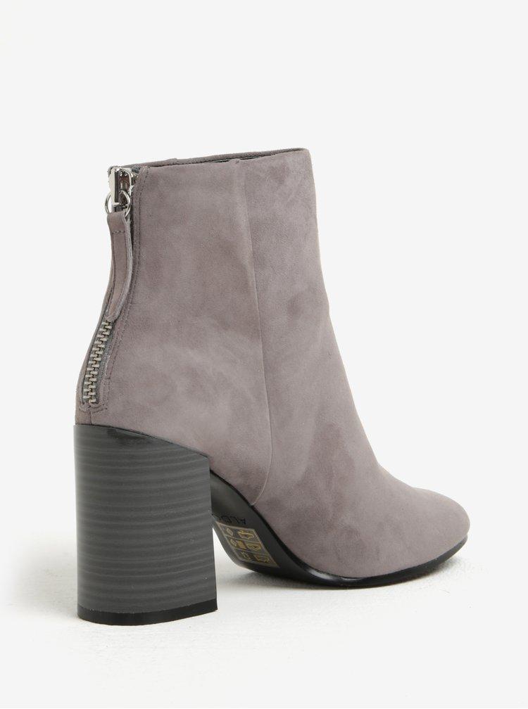 Šedé dámské kotníkové semišové boty na podpatku ALDO Jola